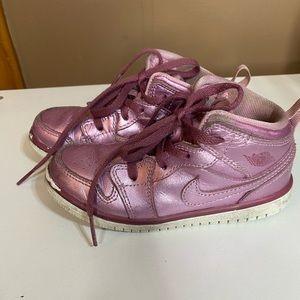 Kids/Toddler Size 9 metallic pink Nike Air Jordans